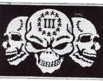 Biker Militia 3% Percent Roman Numeral Skulls Patch (3x2)