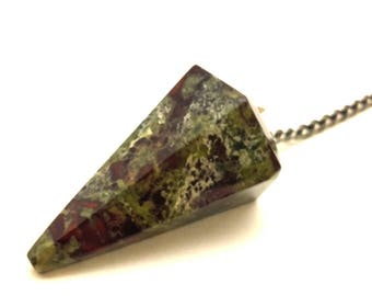Beautiful Heliotrope Jasper Gemstone Point Pendulum with chain