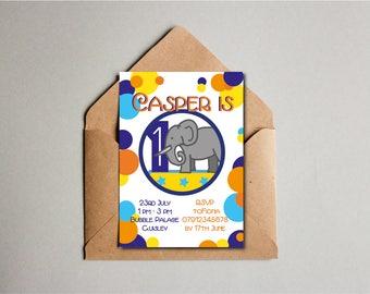 Spotty Elephant Birthday Invitation, Elephant Printable, 1st Birthday, Children's Party Invite, Kids Birthday Invite, Custom Printable