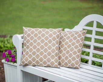 "Set of New 16"" Inch Khaki and White Quantrefoil Pillow Covers"