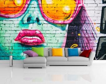 Removable Wallpaper Mural Peel & Stick Graffiti Girl