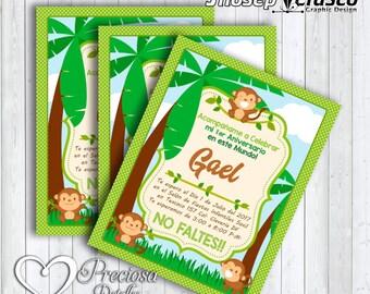 Monkey birthday invitation, Palm trees. PSD birthday little monkey editable printable printable Invitation