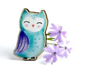 Brooch Jewellery WOODEN ***OWL***