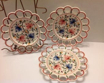 Hand Painted, Made in Portugal , Decorative Plates, Shabby Chic Floral Plates