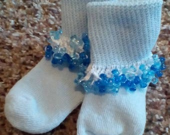 Blue Crochet Beaded Socks