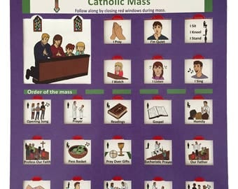A picture guide describing the order of the Catholic Mass