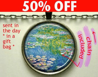 Monet's Water Lily Pond art pendant, water lily necklace, Monet art pendant, Monet art jewelry, French impressionism keychain key chain N330