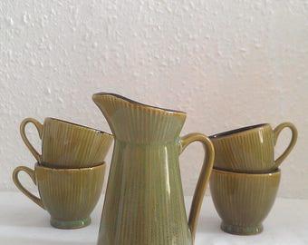 Tiki Kitchen Retro Minimal Jungle Green Hot Sake Tea Set Serve ware Set Eclectic Home Goods The Golden Horse Rare Vintage 1950's