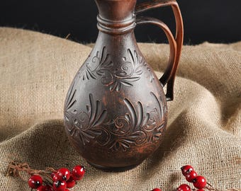 Hand made jug of clay, vessel, jugs for wine. water, juice, milk, vodka, pitchers, pitcher, jar, ewer, jugful