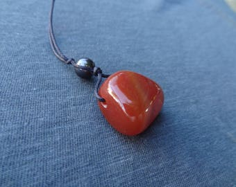 Crystal Necklace, Carnelian and Hematite