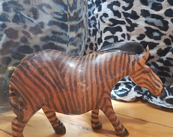 Vintage wooden zebra made in Africa, hand carved wooden zebra figurine, animal figurine 1980