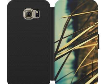 Grass in a field artistic flip wallet phone case for iphone 4 5 6 7, Samsung s2 s3 s4 s5 s6 s7 S8 S8 plus and more
