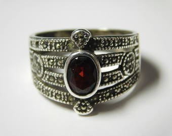 Vintage SETA Sterling Silver Garnet Wide Band / Ring With Marcasite Accents