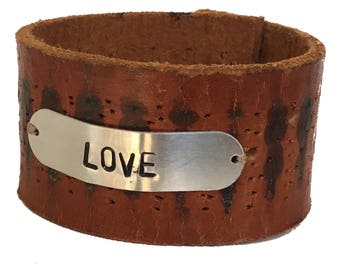 Love Hand Stamped Leather Cuff