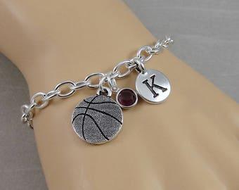 Basketball Charm Bracelet, Basketball Bracelet, Sports Bracelet, Initial and Birthstone Bracelet, Silver Plated Link Charm Bracelet