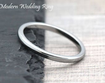 2mm Skinny Thin Stackable Wedding Ring Band Tungsten Carbide Womens Engagement Promise Ring Comfort Fit