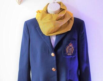 Ralph Lauren Navy Wool Academy Blazer with Embroidered Logo Patch