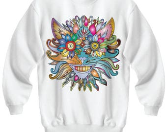 Anthropomorphic Flowers Wavey Sweatshirt Jumper