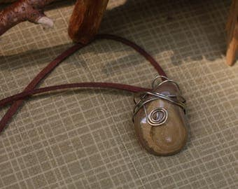 Spiral Wire Wrapped Polished Stone Necklace