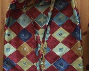Handmade diamond patterned maroon/blue/yellow fabric  drawstring bag,storage bag, laundry bag, diaper bag