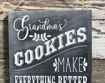 Grandma's Cookies Chalkboard Sign, Hand-Painted Wood Sign