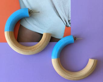 Blue and Wooden Large Hoop Earrings