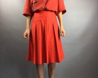 SALE Vintage skirt Designer clothing Midi skirt High Waisted skirt Size S Boho  Pleated School girl skirt Size small Medium skirt Summer ski