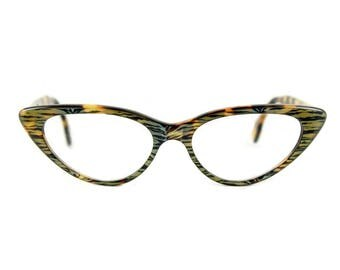 Cat eye glasses Beautiful sexy large contemporary 'BARDOT' in shimmering 'Luminous Tiger' acetate