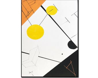Picture Kubikoo art & painting 70 x 50 includes frame and glass. Artiste33. Acrylic poster. Cubism. Geometric. Blade. Printing. Decoration
