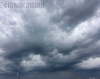 Stormy cloudscape photograph. 12x18 cloud photograph. Cloud photography. Storm photography. Nature photography.