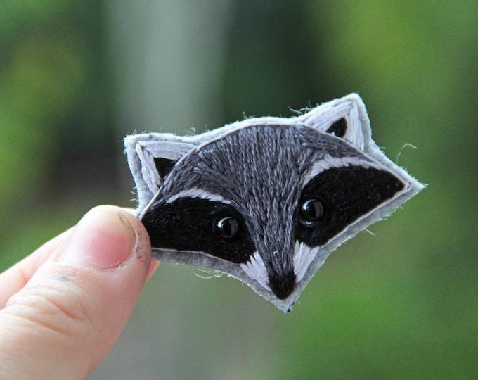 Embroidery raccoon brooch Woodland animal brooch Animal miniature pin Animal jewelry Embroidered brooch Animal lover gift girlfriend idea