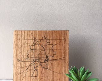Small / Wood Map / Wooster Ohio Map / Ohio Map