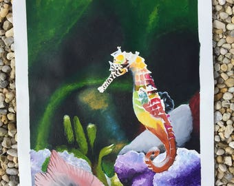 Seahorse Acrylic on Canvas Painting 17.5 x 12