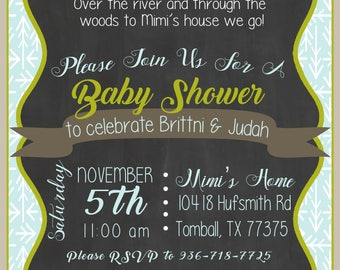 Forest Themed Baby Shower Invite