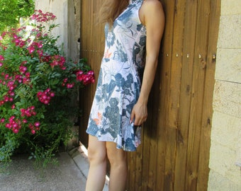 Short summer  dress with flower motifs , Mod.GABY