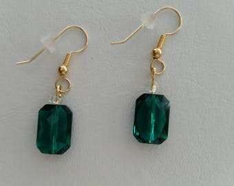 Swarovski Emerald Color Crystal Earrings