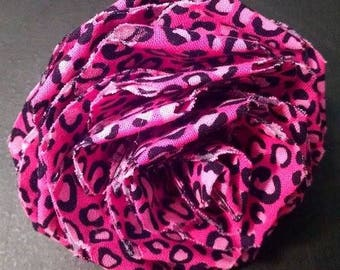 Fabric Rose Barrette Pink Leopards Print