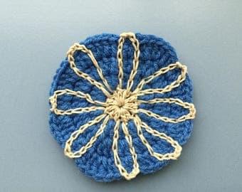 blue & ecru flower coaster