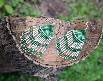 Green & White Seed Bead Earrings
