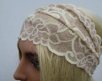 Ivory and beige Stretch Lace Headband, ,Hair accessories Summer fashion-Buy three or more headbands-Get express shipping
