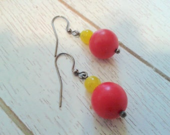 Red and Yellow Round Beaded Earrings/Handmade/Everyday Wear/Gift It