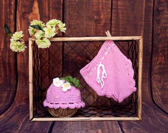 knit newborn- baby girl little pink flower outfit-newborn props-crochet outfits
