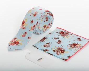 Necktie, Pocket Square, Aqua Blue Skinny Wedding tie,Floral ties, Floral  Skinny Groomsmen tie, Floral Ties and Pocket Square