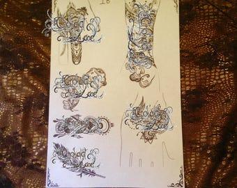 Henna & Jagua (1B)Stencil Tattoo Transfer Designs on Carbon Thermal Paper(purple)
