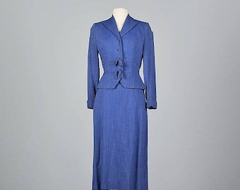 SALE XS 50s Skirt Suit 1950s Separates High Waist Skirt Tailored Jacket Pencil Skirt Vintage 1950s 50s Blue Skirt Suit Two Piece Set