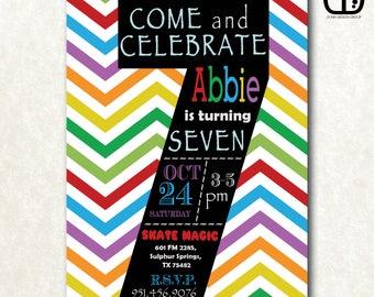 7th, Birthday, Invitation, Boy or Girl, Party, Custom