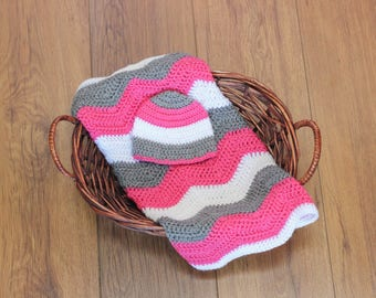 Crochet Baby Blanket and Hat Set, Pink Gray and White Blanket, Baby Girl Blanket Gift Set, Baby Shower Gift Set