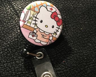 Hello kitty Nurse name badge holder