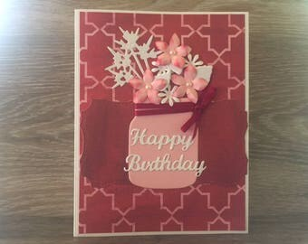 Mason Jar Happy Birthday Card