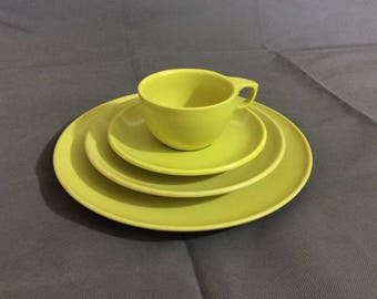 Vintage Retro Lime Green Dining Set Cup Saucer Salad Plate & Dinner Plate by Watertown Lifetime Wear